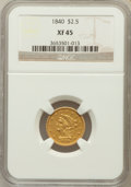 Liberty Quarter Eagles, 1840 $2 1/2 XF45 NGC....