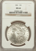 Morgan Dollars: , 1881 $1 MS64 NGC. NGC Census: (3889/682). PCGS Population(3951/1011). Mintage: 9,163,975. Numismedia Wsl. Price forproble...