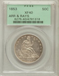 Seated Half Dollars: , 1853 50C Arrows and Rays XF40 PCGS. PCGS Population (110/851). NGCCensus: (52/889). Mintage: 3,532,708. Numismedia Wsl. Pr...