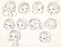 Animation Art:Production Drawing, Snow White and the Seven Dwarfs Snow White Model Sheet Drawing (Walt Disney, 1937)....