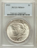 Peace Dollars, 1923 $1 MS64+ PCGS. PCGS Population (75329/16772). NGC Census:(131583/37264). Mintage: 30,800,000. Numismedia Wsl. Price f...