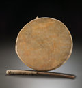 American Indian Art, A SIOUX WOOD AND HIDE DRUM. c. 1910... (Total: 2 Items)