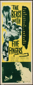 "Movie Posters:Horror, The Beast with Five Fingers (Dominant, R-1956). Insert (14"" X 36"").Horror.. ..."