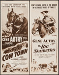 """Movie Posters:Western, Cow Town and Other Lot (Columbia, R-1956). Inserts (2) (14"""" X 36""""). Western.. ... (Total: 2 Items)"""