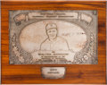 Baseball Collectibles:Others, 1934 New York Chapter Baseball Writers' Association Award Presentedto Walter Johnson....