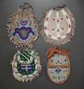 American Indian Art:Beadwork and Quillwork, FOUR SIOUX BEADED HIDE POUCHES. c. 1890... (Total: 4 Items)