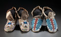 American Indian Art:Beadwork and Quillwork, TWO PAIRS OF SIOUX BEADED HIDE MOCCASINS. c. 1900... (Total: 2Pair)