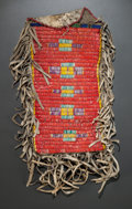 American Indian Art:Beadwork and Quillwork, A SIOUX QUILLED AND BEADED HIDE POUCH. c.1890...
