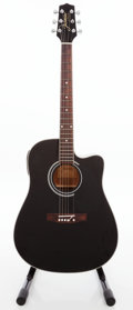 Musical Instruments:Acoustic Guitars, 2007 Takamine Jasmine ES341C Black Acoustic Electric Guitar, Serial # 850700158....