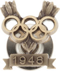 Baseball Cards:Singles (1930-1939), 1948 Winter Olympics Pin, With Original Leather Case....