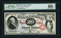 Large Size:Legal Tender Notes, Fr. 129 $20 1878 Legal Tender PMG Gem Uncirculated 66 EPQ.. ...