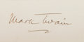 Autographs:Authors, Mark Twain Signature on a Card....