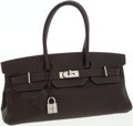 Luxury Accessories:Bags, Hermes 42cm Ebene Clemence Leather JPG Shoulder Birkin Bag withPalladium Hardware. ...