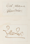 Autographs:Celebrities, Lilly Langtry and Lillian Russell Signatures...