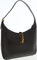 Luxury Accessories:Bags, Hermes 31cm Black Veau Graine Lisse Trim Bag with ContrastStitching and Gold Hardware. ...