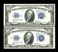 Small Size:Silver Certificates, Fr. 1701 $10 1934 Silver Certificates. Changeover Pair. Very Choice Crisp Uncirculated.. ... (Total: 2 notes)