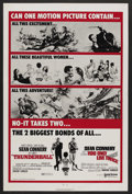 "Movie Posters:James Bond, Thunderball/You Only Live Twice Combo (United Artists, R-1970). OneSheet (27"" X 41""). James Bond. ..."