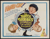 """The Three Stooges Go Around the World in a Daze (Columbia, 1963). Half Sheet (22"""" X 28""""). Comedy"""