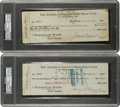Autographs:Checks, The Most Famous Transaction in Baseball History: Two Checks Relatedto the New York Yankees' Purchase of Babe Ruth from Boston...
