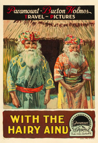 """Burton Holmes Travel Pictures (Paramount, 1920s). Hairy Ainu Poster (28"""" X 41"""")"""