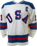 "Hockey Collectibles:Uniforms, 1980 Mike Eruzione ""The Miracle on Ice"" Game Worn USA OlympicHockey Jersey...."