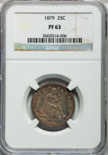 Proof Seated Quarters: , 1879 25C PR63 NGC. NGC Census: (49/167). PCGS Population (79/120).Mintage: 1,100. Numismedia Wsl. Price for problem free N...