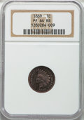 Proof Indian Cents: , 1869 1C PR64 Red and Brown NGC. NGC Census: (42/40). PCGSPopulation (76/37). Mintage: 600. Numismedia Wsl. Price forprobl...