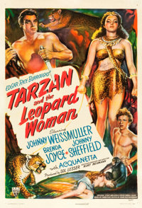 "Tarzan and the Leopard Woman (RKO, 1946). Autographed One Sheet (27"" X 41"")"