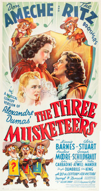 "The Three Musketeers (20th Century Fox, 1939). Three Sheet (41"" X 79"")"