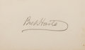 Autographs:Authors, Bret Harte, American Author and Poet. Signature on Small Card. Verygood....