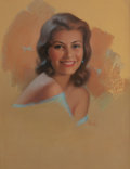 Pin-up and Glamour Art, PEARL ALERYN FRUSH (American, 20th Century). Brunette Beauty,calendar illustration, circa 1974. Pastel on board. 25.5 x...