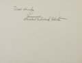 Autographs:Authors, Steward Edward White, American Writer. Signed Card. Very good....