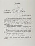 Autographs:Authors, Leon Uris, American Author. Typed Excerpt Signed. Fine....
