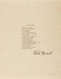 Autographs:Authors, Jesse Stuart, American Writer and Poet. Typed Poem Signed. Fine....