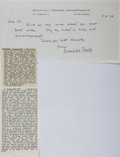Autographs:Authors, Sacheverell Sitwell, British Writer. Autograph Letter Signed. Very good....