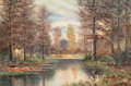 Texas:Early Texas Art - Regionalists, WILLIAM ROBERT THRASHER (American, 1908-1997). Texas Landscapewith Stream. Oil on canvas. 24 x 36 inches (61.0 x 91.4 c...