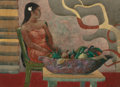 Fine Art - Painting, American:Contemporary   (1950 to present)  , MILLARD SHEETS (American, 1907-1989). Girl with Calabash,Moorea, 1977. Watercolor and pencil on paper. 21-1/4 x 29-1/4...