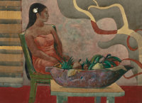 MILLARD SHEETS (American, 1907-1989) Girl with Calabash, Moorea, 1977 Watercolor and pencil on paper