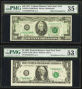 Error Notes:Error Group Lots, Fr. 1921-B $1 1995 Federal Reserve Note. PMG About Uncirculated 53EPQ; Fr. 2072-B $20 1977 Federal Reserve Note. PMG Choice V...(Total: 2 notes)