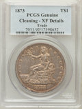 Trade Dollars, 1873 T$1 -- Cleaning -- PCGS Genuine. XF Details. NGC Census:(3/133). PCGS Population (15/211). Mintage: 396,600. Numismed...