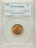 Lincoln Cents: , 1918 1C MS66 Red PCGS. PCGS Population (108/16). NGC Census:(11/2). Mintage: 288,104,640. Numismedia Wsl. Price for proble...