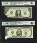 Error Notes:Foldovers, Fr. 1907-G $1 1969D Federal Reserve Note. PMG Very Fine 30;. Fr.1975-D $5 1977A Federal Reserve Note. PMG Very Fine 30 EP...(Total: 2 notes)