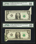 Error Notes:Foldovers, Fr. 1905-B $1 1969B Federal Reserve Note. PMG Choice Very Fine 35;.Fr. 1913-L $1 1985 Federal Reserve Note. PMG Choice Ve... (Total: 2notes)