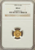 Gold Dollars: , 1853-O G$1 MS61 NGC. NGC Census: (263/423). PCGS Population(51/215). Mintage: 290,000. Numismedia Wsl. Price for problem f...