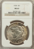 Peace Dollars: , 1928 $1 MS63 NGC. NGC Census: (1350/1026). PCGS Population(2128/1962). Mintage: 360,649. Numismedia Wsl. Price for problem...