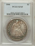 Seated Dollars: , 1846 $1 XF45 PCGS. PCGS Population (102/299). NGC Census: (59/295).Mintage: 110,600. Numismedia Wsl. Price for problem fre...