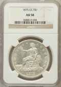 Trade Dollars: , 1875-CC T$1 AU58 NGC. NGC Census: (54/145). PCGS Population(27/183). Mintage: 1,573,700. Numismedia Wsl. Price for problem...