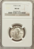 Standing Liberty Quarters: , 1928-D 25C MS66 NGC. NGC Census: (102/10). PCGS Population (75/2).Mintage: 1,627,600. Numismedia Wsl. Price for problem fr...