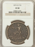 Trade Dollars: , 1875-CC T$1 XF40 NGC. NGC Census: (8/249). PCGS Population(28/347). Mintage: 1,573,700. Numismedia Wsl. Price for problem ...