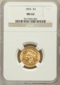 Three Dollar Gold Pieces: , 1855 $3 MS62 NGC. NGC Census: (63/56). PCGS Population (71/77).Mintage: 50,555. Numismedia Wsl. Price for problem free NGC...